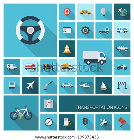 Vector flat colored icons with long shadows. Transportation set for business, industry, internet, computer and mobile apps: car, wheel, helicopter, bicycle symbols in modern graphic illustration. - stock vector