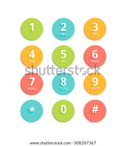 Vector flat colored keypad for phone. Material design round buttons with numbers and alphabet. Mobile phone UI. - stock vector