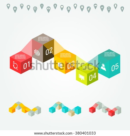 Vector FLAT colorful infographics for your business presentations. Can be used for info graphics, graphic or website layout vector, numbered banners, diagram, web design. - stock vector