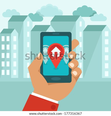 Vector flat concept - hand holding mobile phone with gps app on the screen - searching for a house - stock vector