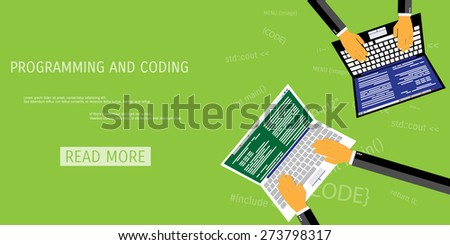 Vector flat concept of programming and coding. Network technology. Multimedia content and web sites hosting. Search engine optimization. Concepts for web banners and promotional materials. - stock vector
