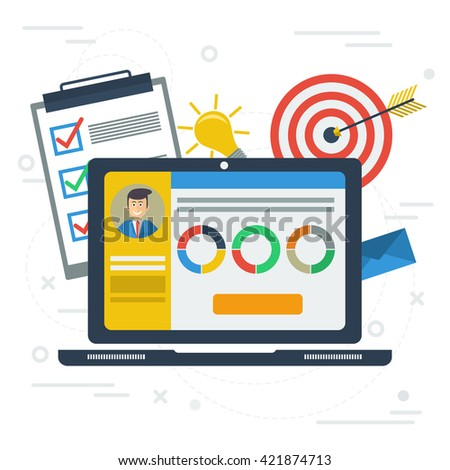 Vector flat concept personal account in internet services. Accounting services. Laptop with app, information, list to do, target, idea lamp, graphics - stock vector