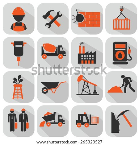 vector flat construction icon set on colorful background - stock vector