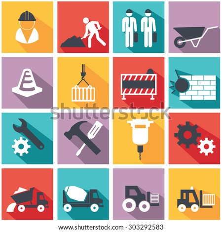 Vector flat construction icon set on colorful background. - stock vector