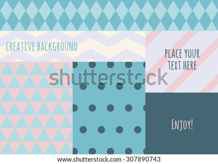 Vector flat creative color blocking background. Pastel colours geometric pattern. Abstract concept for flyer, greeting card, cover, invitation, brochure. Universal template. - stock vector