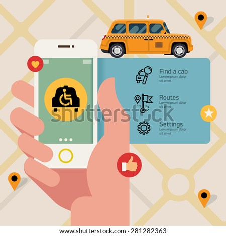Vector flat creative infographics banner design on taxi service with wheelchair access application | Male hand holding phone with wheelchair accessible taxi hire service application running - stock vector