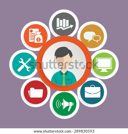 Vector flat customer service concept - icons and infographic design elements - stock vector