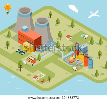 Vector flat 3d isometric model factory. Industry plant, building construction graphic architecture illustration - stock vector