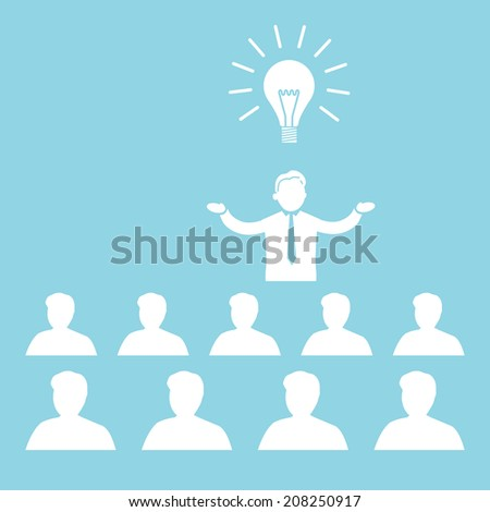 vector flat design business icon of manager presenting new idea on conference or workshop meeting | white isolated pictogram illustration on blue background - stock vector