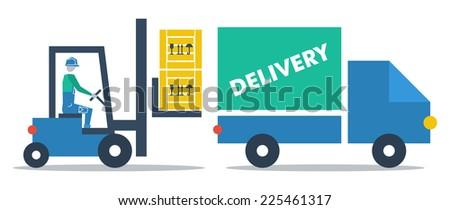 vector flat design commodity loading truck - stock vector