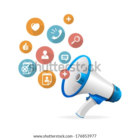 Vector flat design concept icons and megaphone - stock vector
