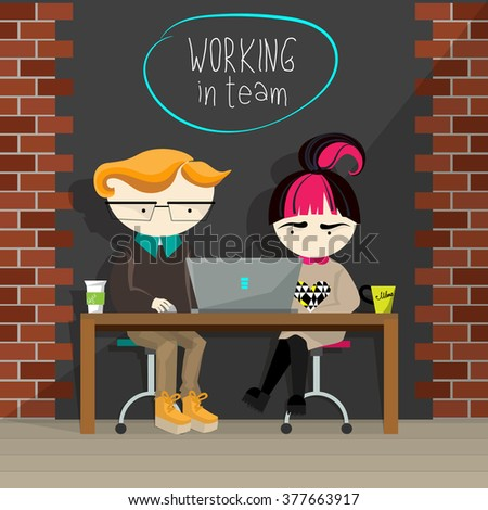 Vector flat design creative concept illustration of connectivity and team working. Young cartoon boy and girl sitting at one table, looking in laptop, having their cups on the table, working together. - stock vector