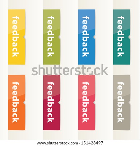 Vector flat design feedback buttons. Modern feedback buttons in eight different colors. Clean and clear flat design. - stock vector