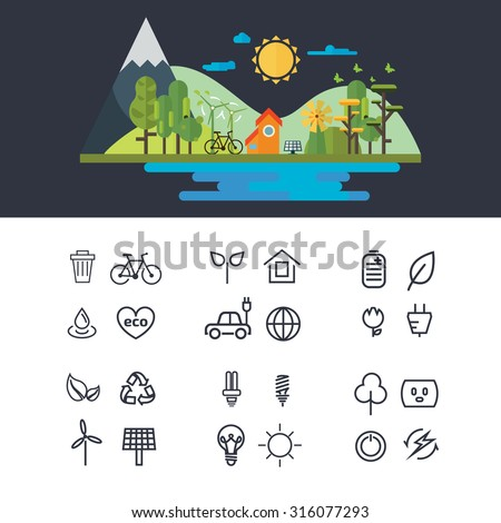 Vector flat design illustration of ecology landscape. infographic element. eco icon set - stock vector