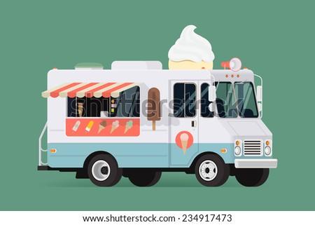 Vector flat design illustration on classic ice cream truck   Retro looking ice cream van - stock vector