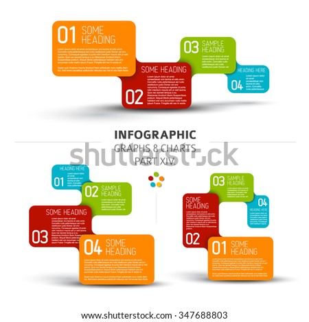 Vector flat design infographic elements (diagrams with rectangles) - 14. part of my infographic bundle - stock vector