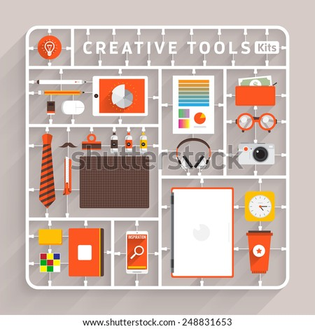Vector flat design model kits for creative tools. Element for use to success creative thinking - stock vector