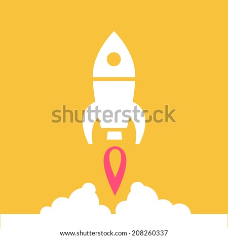 vector flat design rocket launching from the ground start up icon | white isolated pictogram illustration on yellow background - stock vector