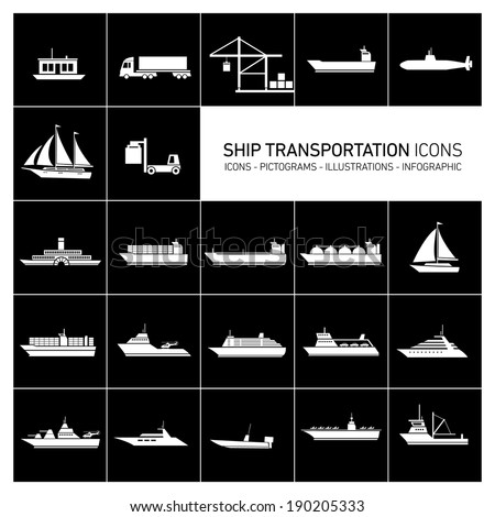 vector flat design ship and boats transportation icons and illustrations set white isolated o black background - stock vector