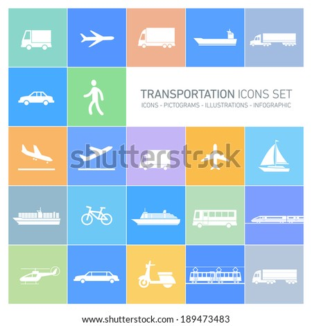 vector flat design simple transportation icons set and pictograms white isolated on colorful background - stock vector
