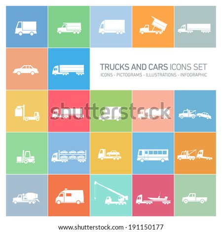 vector flat design trucks and cars transportation and shipping icons set modern white illustrations isolated on colorful background - stock vector