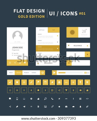 Vector flat design ui kit for webdesign / flat ui kit design set for web design. Menu, social bar, icons in gold color. - stock vector