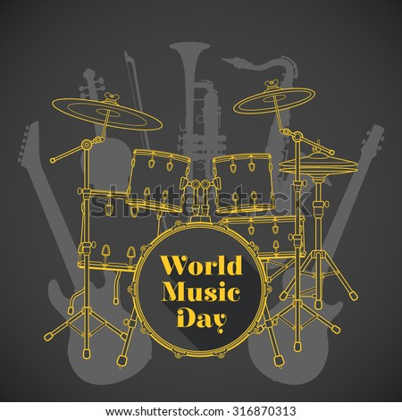 vector flat design world music day poster illustration yellow drum set electro bass guitars saxophone violin trumpet brown background