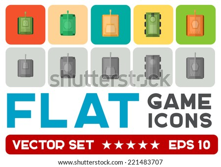 Vector flat game icons set. Military tanks - stock vector