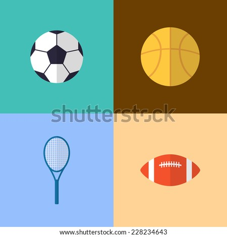 Vector flat game icons set. Sports equipment - stock vector