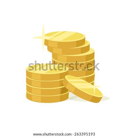 Vector flat gold coins icon - stock vector
