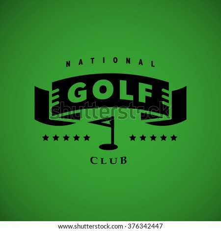 Vector flat golf logo design. Golf player icon, sport logo, golf club insignia, print design, any advertising sample. Golfing club symbol with ribbon, hole, flag and stars on green background. - stock vector