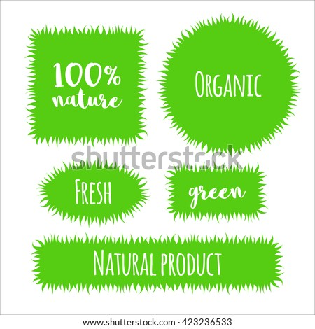 Vector flat grass banner, label, bubble template set isolated on white background. For packaging design, special offers, promotions for shops natural eco products, farm, vegan, green market. - stock vector