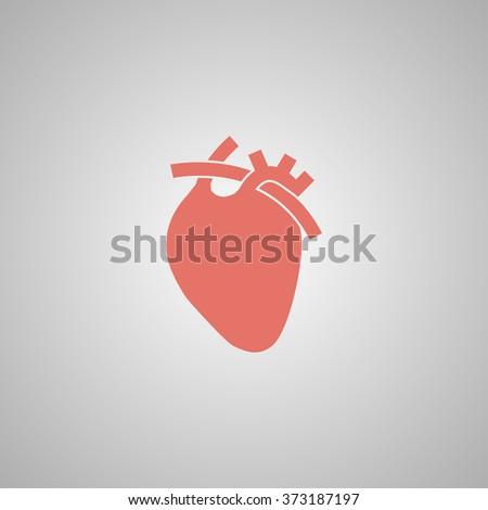 Vector flat heart icon. Flat design style eps 10 - stock vector