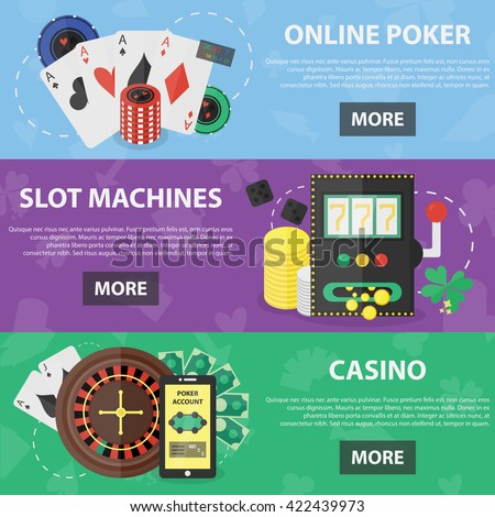 Vector flat horizontal banners of online poker, slot machines and casino theme for website and apps. Concept of games of chance and casino. Set of gambling and gaming house objects in flat design. - stock vector
