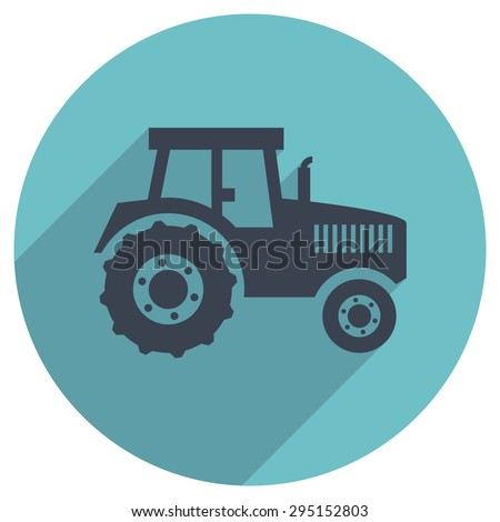 vector flat icon of a tractor - stock vector