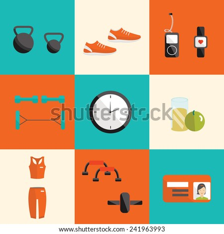 Vector flat icon of fitness. Fitness elements. Vector fitness set. Fitness woman set. Vector flat design of fitness. Fitness details. Fitness woman. Fitness equipments. Fitness graphic. - stock vector