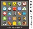vector flat icon-set 8 - stock vector