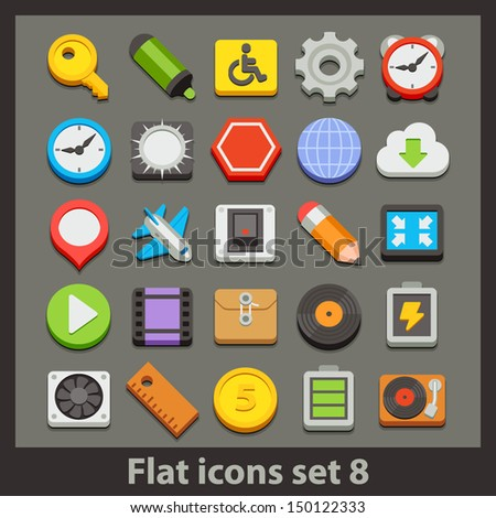vector flat icon-set 8 - stock vector