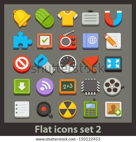 vector flat icon-set 2 - stock vector