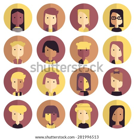 Vector flat icon set avatar people in modern colors.  - stock vector