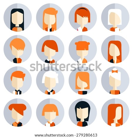 Vector flat icon set avatar people in modern colors. Orange. - stock vector