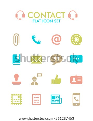 Vector Flat Icon Set - Contact  - stock vector