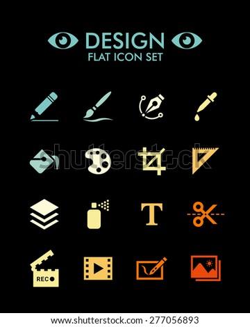 Vector Flat Icon Set - Design  - stock vector