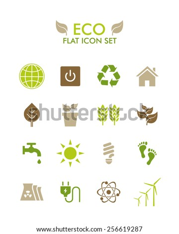 Vector Flat Icon Set - Eco - stock vector