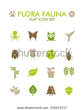 Vector Flat Icon Set - Flora and Fauna - stock vector