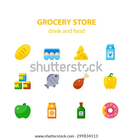 Vector flat icon set of grocery store. Bread, eggs, cheese, milk, dry products, fish, meat, vegetables, fruits, juices, alcohol, dessert. - stock vector