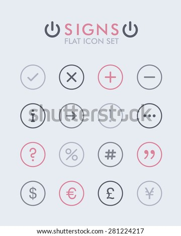 Vector Flat Icon Set - Signs  - stock vector