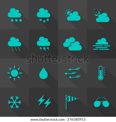 Vector Flat Icon Set - Weather  - stock vector