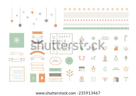 Vector flat icons and decor elements. Merry Christmas and Happy New Year. Nice details and easily identifiable. Useful for holidays infographics. - stock vector