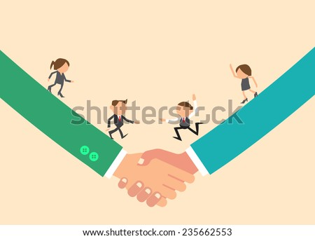 Vector Flat Icons Cartoon Business People Shake Hands as Partnership Concept. - stock vector